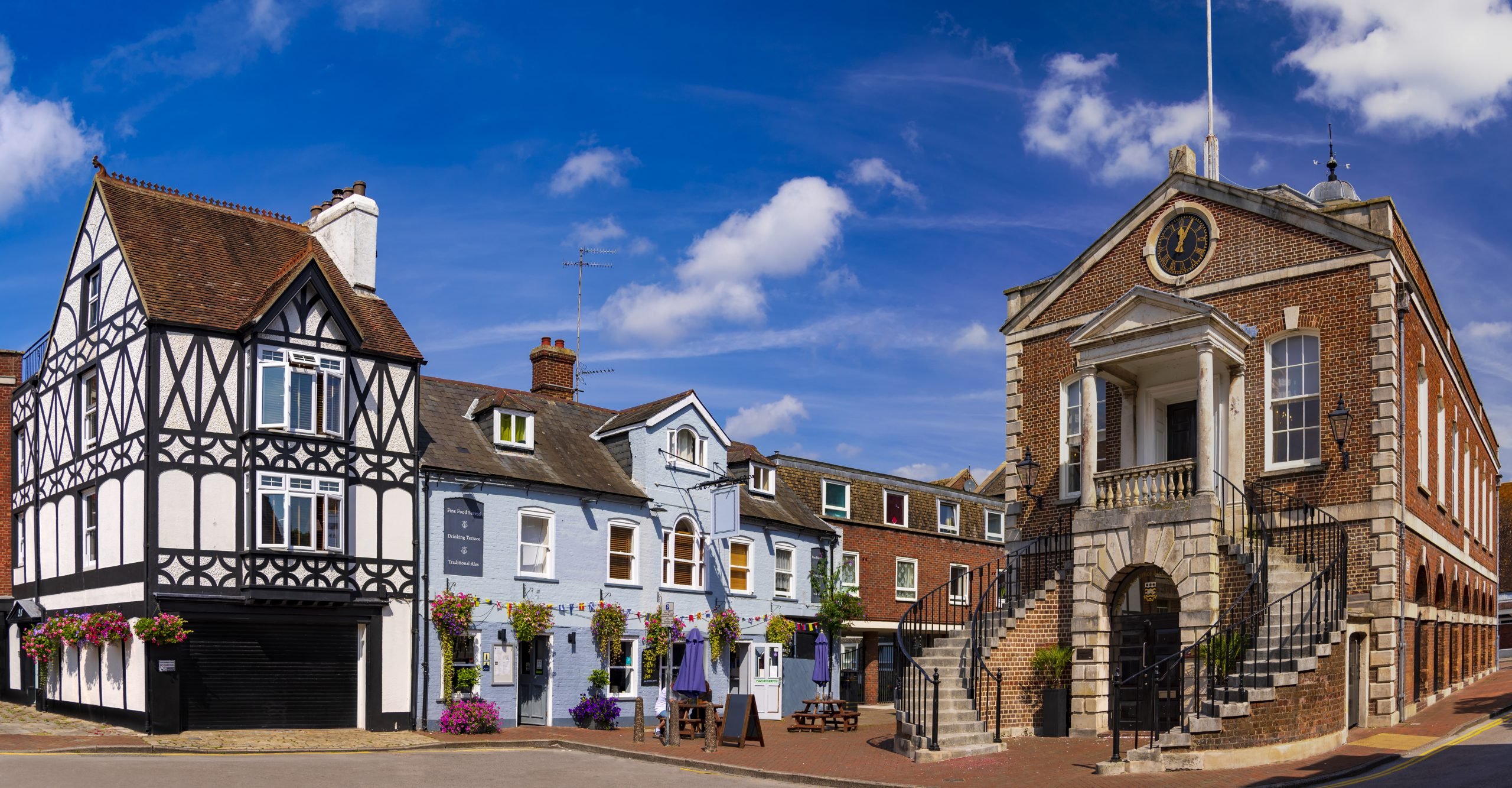 Historic Old Poole Town buildings